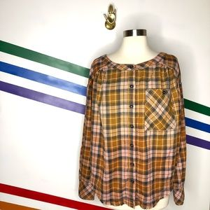 NEW Free People oversized plaid flannel